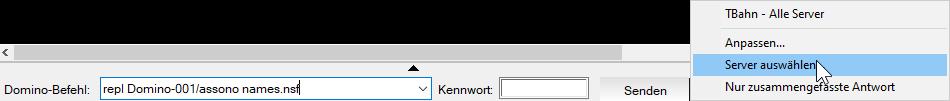 "Im Senden-Menü kann man ""Server auswählen"""