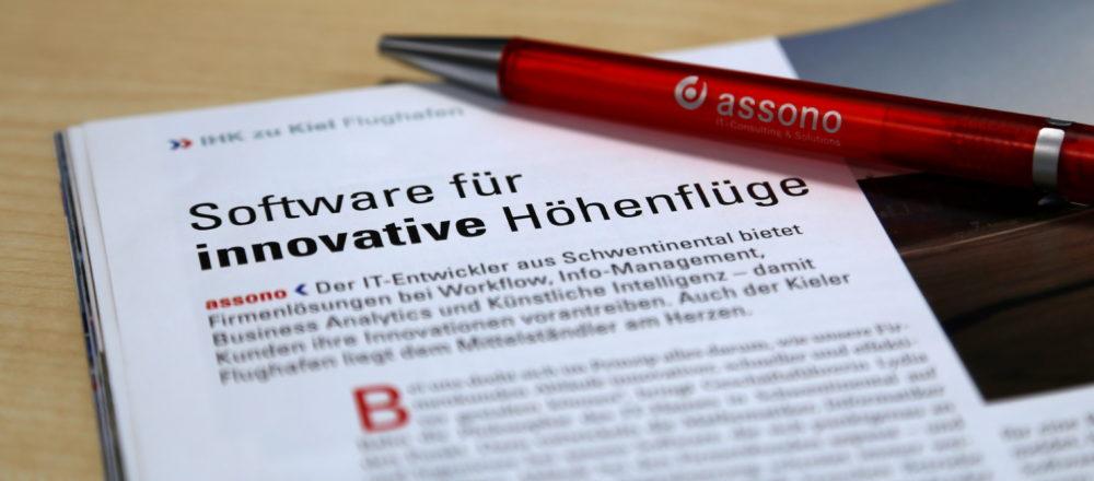 """IHK Schleswig-Holstein berichtet im Magazinartikel über assonos """"Software für innovative Höhenflüge"""""""