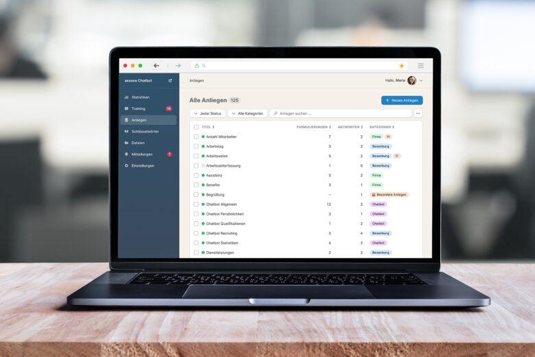 assono KI-Chatbot: Einfach zu verwalten: Im Dashboard verbessern Sie Ihren Chatbot und analysieren geführte Gespräche.